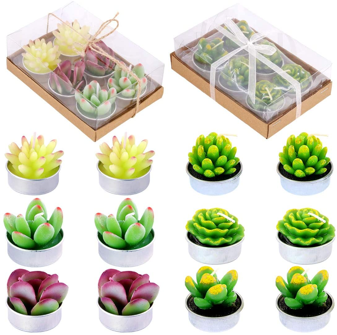 Glarks 12Pcs Cute Opening large release sale Handmade Artificial Delicate Tealig Succulents Miami Mall