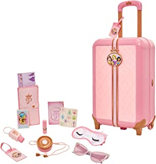 Disney Princess Travel Suitcase Play Set For Girls with Luggage Tag by Style Collection, 17 Pretend Play Accessories Piece Including Travel Passport For Ages 3+
