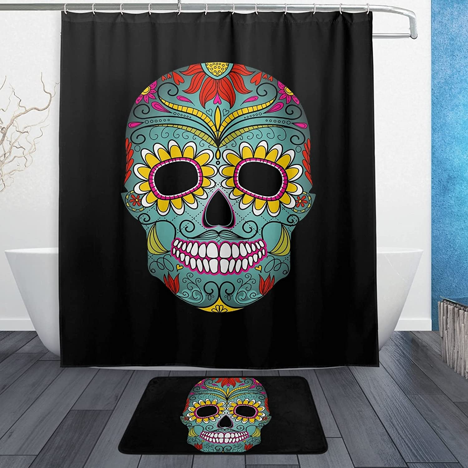 Oyihfvs Max 64% OFF Floral Mexico Sugar Skull On Long-awaited Shower 60 Inches X Black 72