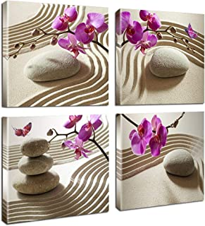 Canvas Print Wall Art-Spa Wall Decor Butterfly Orchid Painting Zen Spa Purple Phalaenopsis Flowers On White Balance Stones 4 Panel Paintings Modern Artwork For Living Room Decoration Flower Home Decor