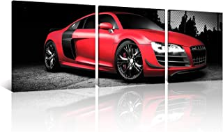 NAN Wind 3 Pcs 12X12inches Canvas Print Awesome Sports Cars Wall Art Classic Red Car on Black Background Pictures Print On Canvas for Home Decor