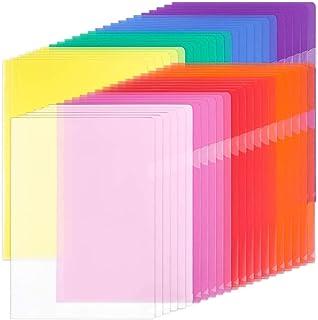 Dossiers en plastique transparent A4, 42pcs Chemise Plastique Pochette Pour le stockage du papier, 8 couleurs assorties, p...