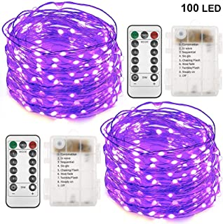 Twinkle Star 33FT 100 LED Copper Wire String Lights Halloween Lights Battery Operated Waterproof LED String Lights with Remote Control Decor for Christmas Wedding Party Home, 2 Pack, Purple