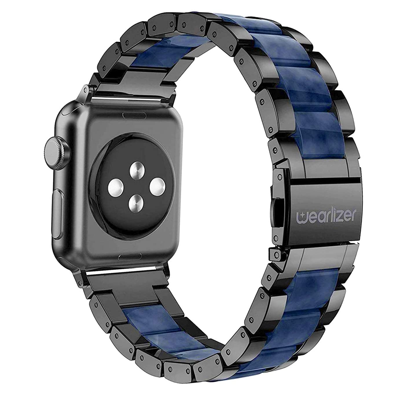 Wearlizer Black Blue Bands Compatible with Apple Watch Straps 42mm 44mm iWatch Mens Womens Replacement Lightweight Central Resin with Stainless Steel Edge Wristbands Strap Bracelet Series 4 3 2 1