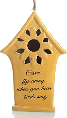 Drew DeRose Cares Fly Away When Hear Birds Sing Sunflower Yellow 11 x 6 Ceramic Hanging Birdhouse