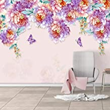SUNNYBZ Mural De Papel Tapiz Fotográfico 3D Flores Mariposas Plantas Moda. 260X175 Cm Papel Tapiz 3D Decoración Del Hogar ...