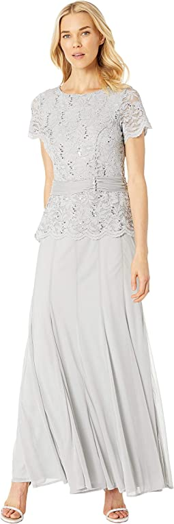 Short Sleeve Mock Two-Piece Gown w/ Lace Bodice, Solid Skirt