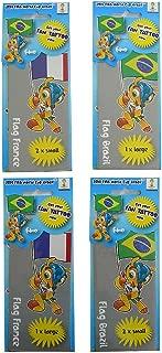 World Cup 2014 Lot de 4 Tattoos temporaires France//Br/ésil Officiel Coupe du Monde 2014 Bleu