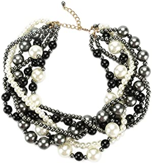 JNF Simulated Pearl Choker Necklace for Women Bridal Wedding Pearl Statement Necklace