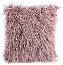 cool nik Deluxe Home Decorative Soft Plush Mongolian Long Faux Fur Accent Throw Pillow Cover Cushion Case for Bed 18 x 18 Inch Purple