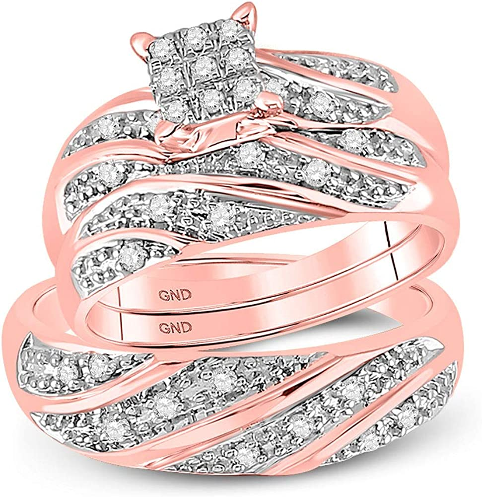 FB Branded goods Jewels 10kt Rose Sacramento Mall Gold Trio Square Hers Diamond Round Ma His