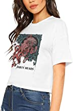Dirty Heads-Octopus Women Singer/Rock Band Logo Popular Shirt Short Sleeve Shirt Leak Navel T-Shirt White