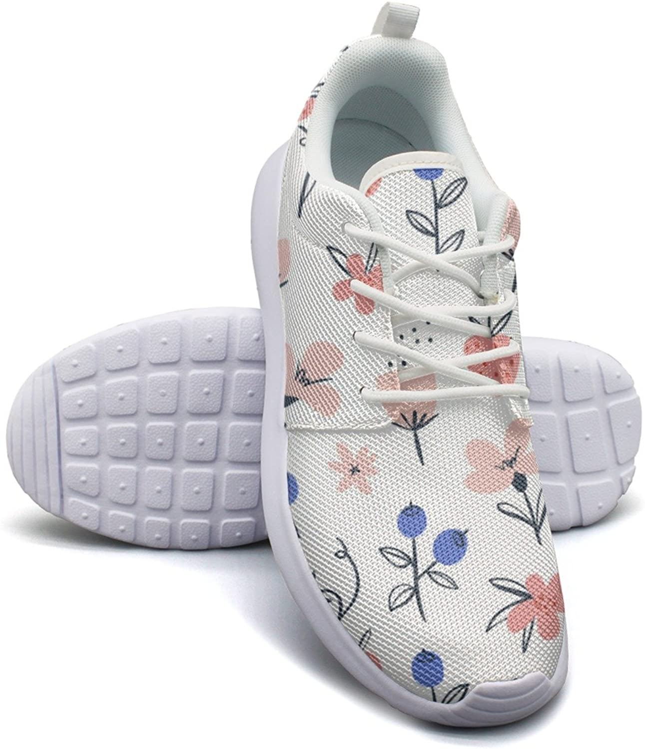 Gjsonmv Abstract Flowers Berries White mesh Lightweight shoes for Women lace up Sports Athletic Sneakers shoes