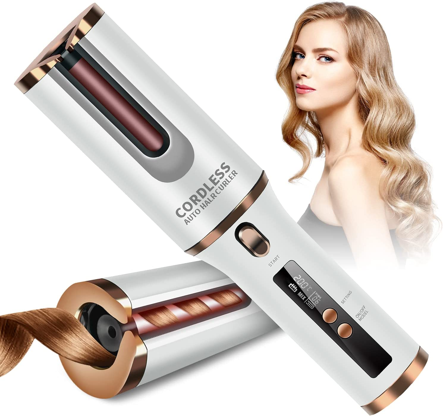 Special price for a limited time Cordless Auto Curler Branded goods HANMEI Portable Curling 60 with Wand Minute