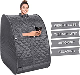 OppsDecor Portable Steam Sauna, 2L Personal Therapeutic Sauna Home Spa for Weight Loss Detox Relaxation Slimming,One Person Sauna with Remote Control,Foldable Chair,Timer(US Plug) (Grey)