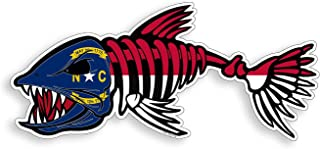 North Carolina Bone Fish Sticker - NC State Flag Fishing Decal Vinyl Die Cut Custom Printed Cooler Cup Car Graphic