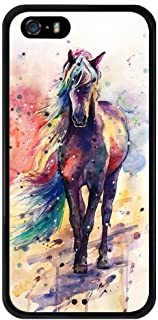 Watercolor Horse iPhone 5s 5 SE Case, PC and TPU Shockproof Slim Anti-Scratch Protective Kit with Heavy Duty Dual layer Rugged Case Non-slip Grip Cover for iPhone 5s 5 SE,Black