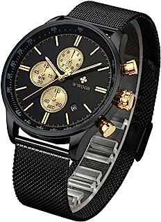 WWOOR Reloj de Pulsera para Hombre Esfera De Cuarzo Negro Di