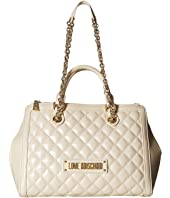 LOVE Moschino - Shiny Quilted Handbag with Chain Strap