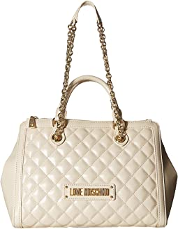 Shiny Quilted Handbag with Chain Strap