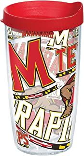 Tervis Maryland Terrapins All Over Insulated Tumbler with Wrap and Red Lid, 16oz, Clear