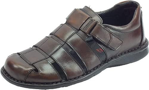 Semiko-Sandalen für Herren aus Leder mit Goldfarbenem Kopf