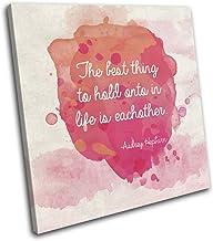 Bold Bloc Design - Audrey Hepburn Quote Iconic Celebrities 90x90cm SINGLE Caja de lamina de arte lienzo enmarcado foto del colgante de pared - hecho a mano en el Reino Unido - enmarcado y listo para colgar - Canvas Art Print