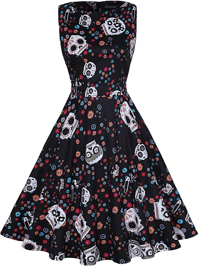 Easy Retro Halloween Costumes – Last Minute Ideas OWIN Womens Vintage 1950s Floral Spring Garden Rockabilly Swing Prom Party Cocktail Dress…  AT vintagedancer.com
