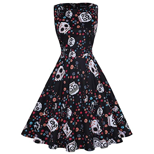 d91fe61cbab OWIN Women s Vintage 1950 s Floral Spring Garden Rockabilly Swing Prom  Party Cocktail Dress