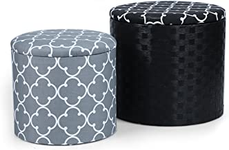 Adeco Grey & Black Cross Fabric Round Storage Ottoman, Two Pieces