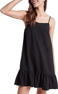 Our Heritage - Women's Sleeveless Spaghetti Strap Ruffle Hem Mini Slip Dress