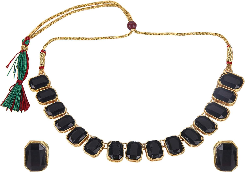 Efulgenz Fashion Chunky Crystal Oxidized Gold Statement Choker Necklace Earrings Bracelet Ring Set Costume Jewelry Set (Color Options)