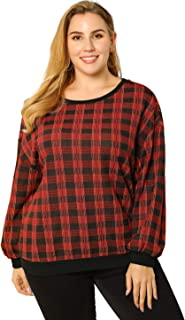 Agnes Orinda Women's Plus Size Top Long Sleeve Drop Shoulder Plaid Sweatshirt