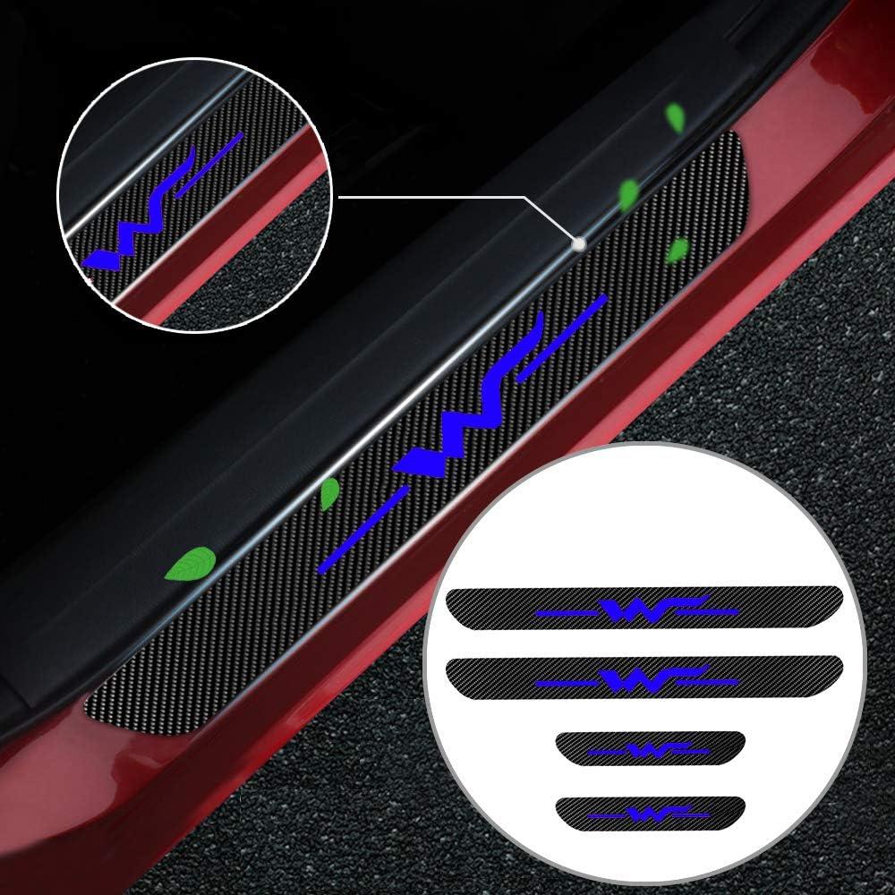 Einstiegsleiste Schutz Aufkleber Reflektierende Lackschutzfolie Für Up Polo Golf Jetta Passat Cc Phaeton Einstiegsleisten Weiß 4 Stück Auto