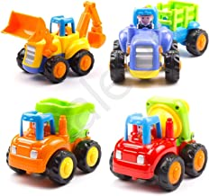 SaleOn™ Friction Powered Cars Push and Go Car Construction Vehicles Toys, Tractor / Bulldozer / Dumper / Cement Mixer Early Educational Toys (4 Pieces)