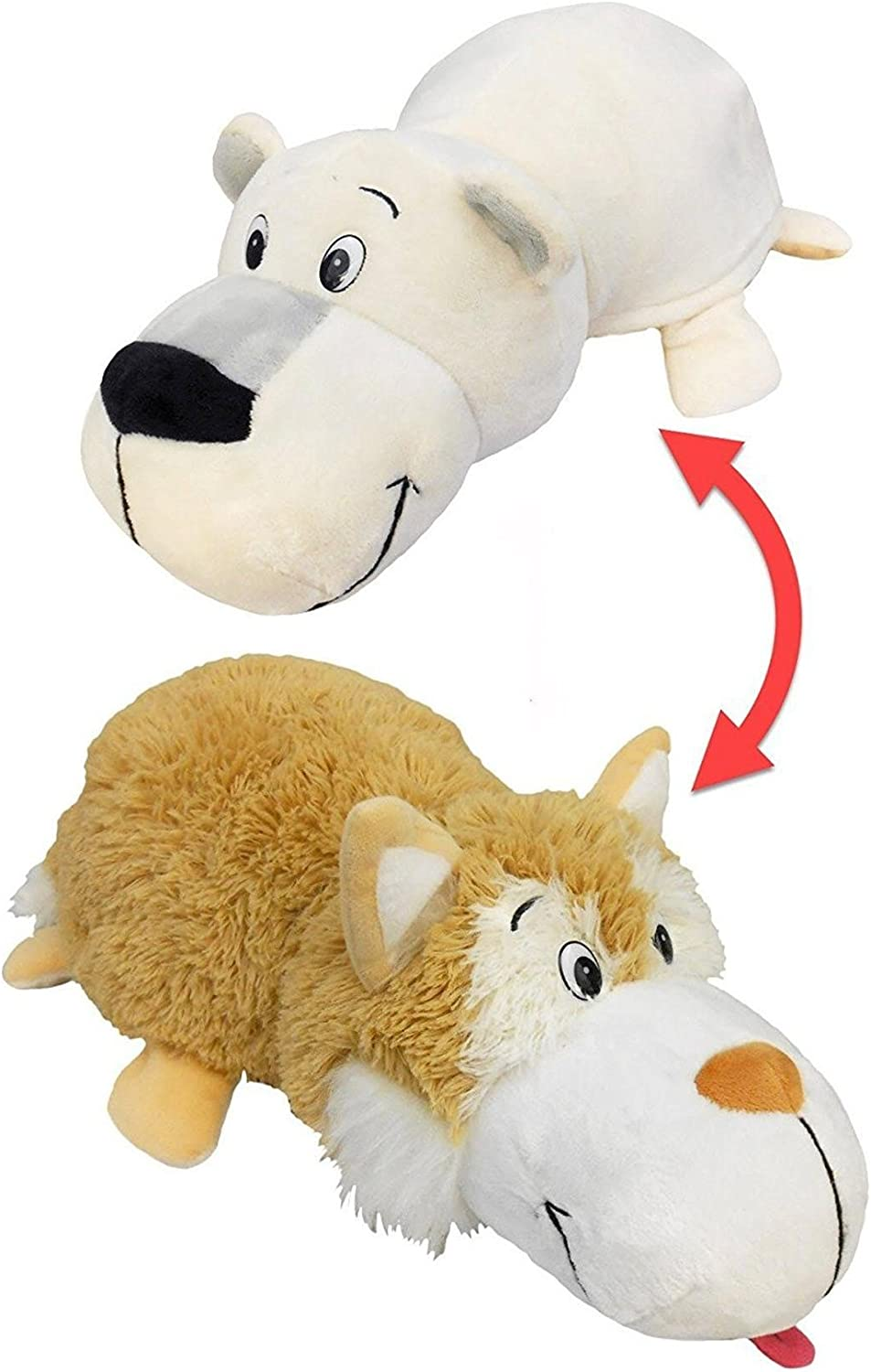 FlipaZoo 30 Plush 2 in 1 Pillow  Beige Husky Transforming to Polar Bear