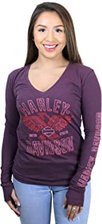 Womens Soaring Winds Eagle V-Neck Purple Long Sleeve T-Shirt