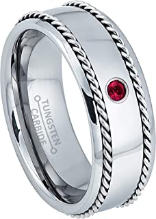 0.07ct Ruby Mens Tungsten Ring - July Birthstone Ring - 8MM Comfort Fit Polished Dome Tungsten Carbide Wedding Band with Double Stainless Steel Rope Inlay
