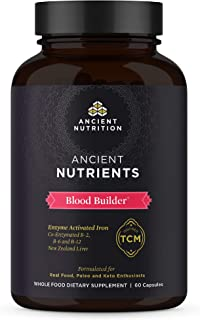 Ancient Nutrition, Ancient Nutrients Blood Builder - Co-enzymated B-2, B-6, and B-12, Adaptogenic Herbs, Paleo & Keto Friendly, 60 Capsules