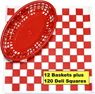 12 Red Plastic Oval Food/Burger Baskets plus 120 Checkered Deli Paper Liners. Restaurant/Food Tray Basket Sets for Barbecues, Picnics, Parties, Kids Meals, Outdoors.