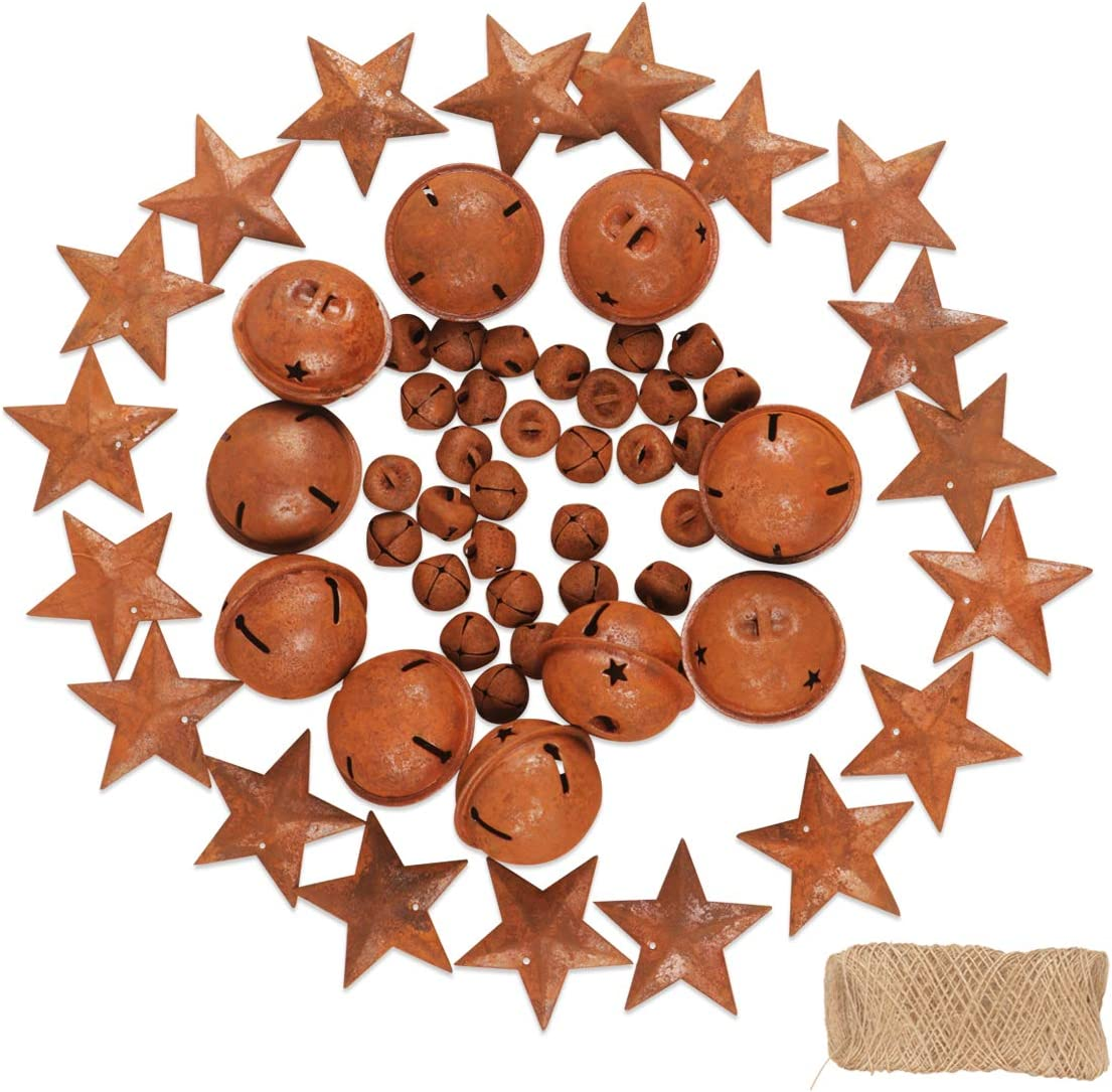 3 Sizes YiYa 35Pcs Rusty Jingle Bells Craft Bells DIY Bells Contain A Jute Rope for Christmas Festival Decoration Wreath Holiday Home Decoration