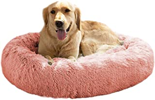 MFOX Calming Dog Bed (L/XL/XXL/XXXL) for Medium and Large Dogs Comfortable Pet Bed Faux Fur Donut Cuddler Up to 25/35/55/1...