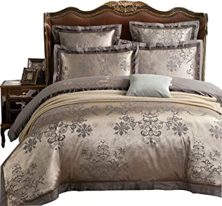 MKXI Duvet Cover Set Floral Embroidery Sateen Cotton Vintage Queen Size Bedding Set