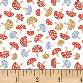 Windham Fabrics A Walk In The Woods Mushrooms Fabric, White, Fabric By The Yard