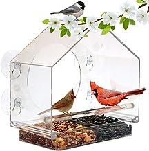 ZDJR Comedero para pájaros, Ventana de Forma casera Comedero para pájaros con Bandeja de alimentación Deslizante, Resistente a la Intemperie, Resistente a la Nieve y Las Ardillas