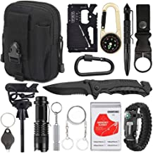 XUANLAN Emergency Survival Kit 15 in 1, Outdoor Survival Gear Tool with Survival Bracelet, Fire Starter, Whistle, Wood Cutter, Water Bottle Clip, Tactical Pen (Black)