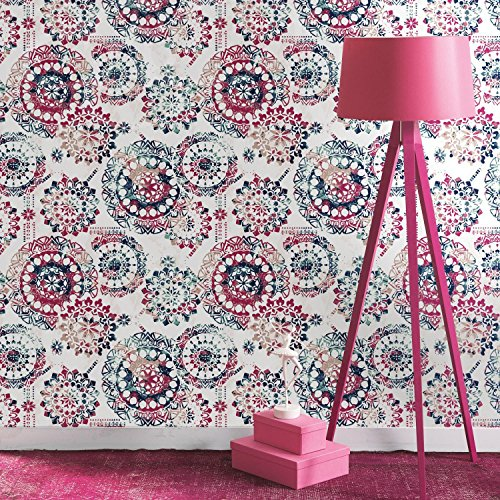 RoomMates Bohemian Pink and Blue Peel and Stick Wallpaper