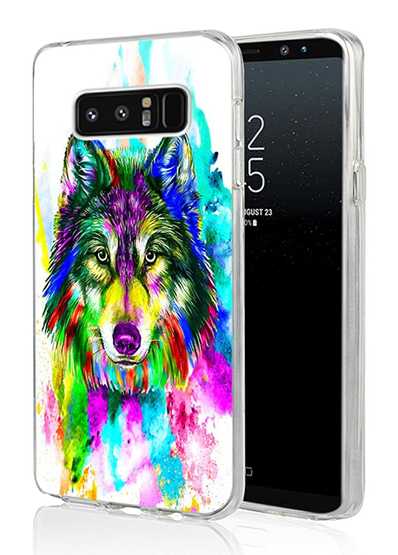Wolf Case for Galaxy Note 8,Ecute Soft Slim Flexible Rubber Side + Style Hard Back Case for Samsung Galaxy Note 8 (2017) - Vintage Color Wolf