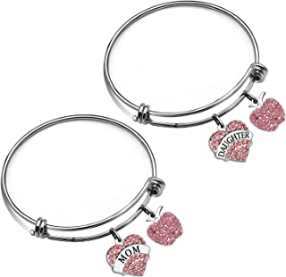 JJIA Mother Daughter Bracelet, 2Pcs Crystal Bracelets Bangle for Mother Daughter Mom Gifts Daughter Gifts Birthday