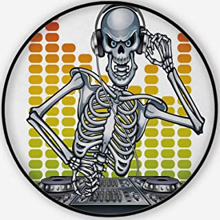 ALUONI dj Skeleton Mixing Music Elegant/Versatile Round Floor Mat,120126 for Home/Office/Hotel/Guest Room,4'Round